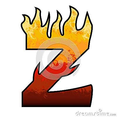 Flames Alphabet letter - Z
