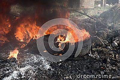 Flames and black smoke