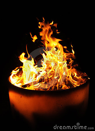 Flames in a fire pot