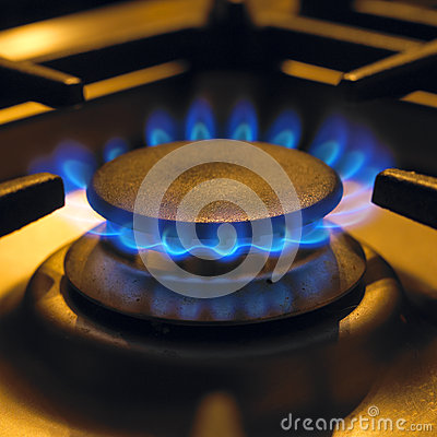 Flames on gas cooker hob