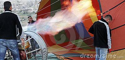 Flames hot air balloon roadies getting ready Editorial Photography