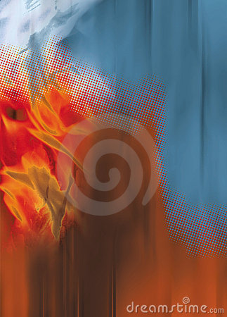 Flames dots orange blue background