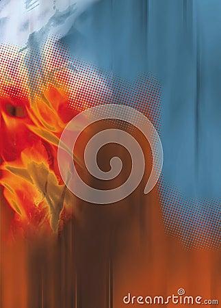 Flames dots orange blue background