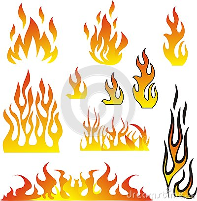 Free Flames Set Vector Stock Image - 33160061