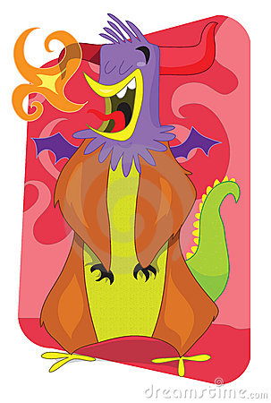 Flaming alien monster rooster cartoon illustration