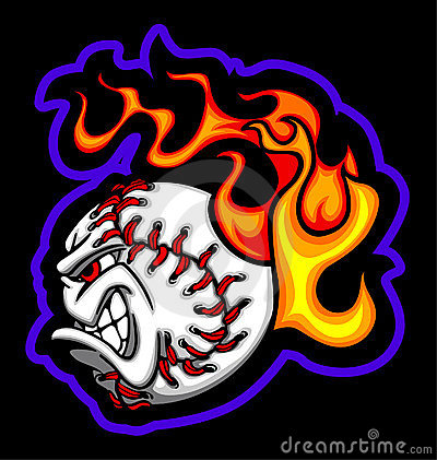 Flaming Baseball Ball Face Vector Image