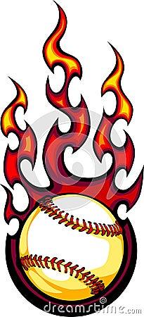 Flaming Baseball or Softball Ball Logo