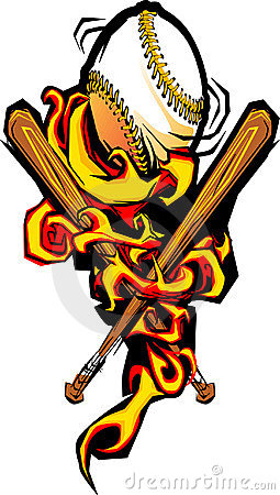 Flaming Baseball Softball and Bats