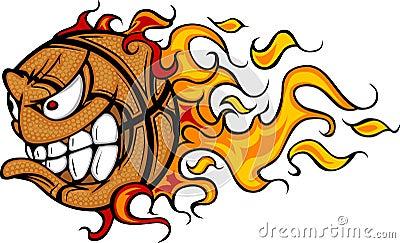 Flaming Basketball Ball Face Vector Image