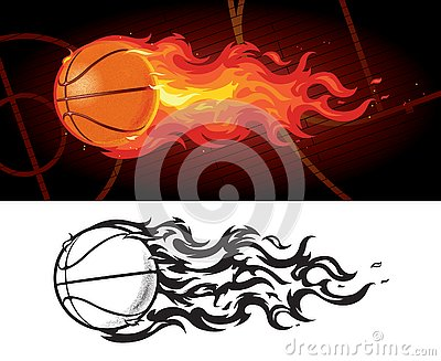 Basketball on Fire Zooming Across Court Vector Illustration