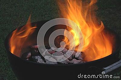 Flaming charcoals