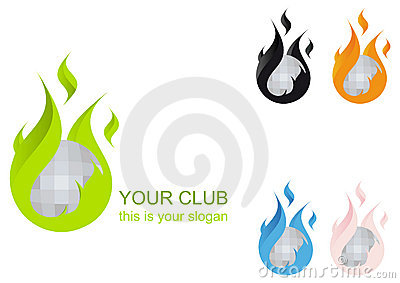 Flaming Disco Ball Club Logo
