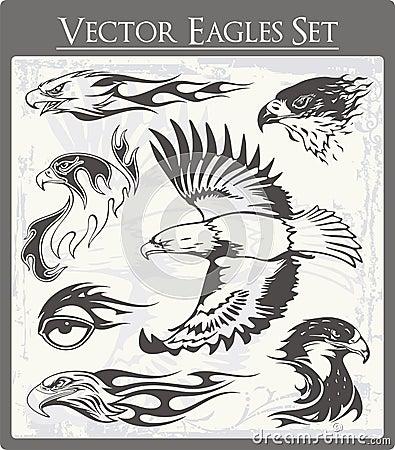 Flaming Eagle Illustrations Set