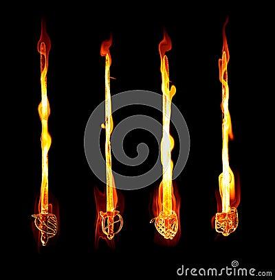 Flaming fiery swords