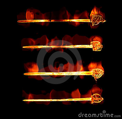 Flaming fiery swords
