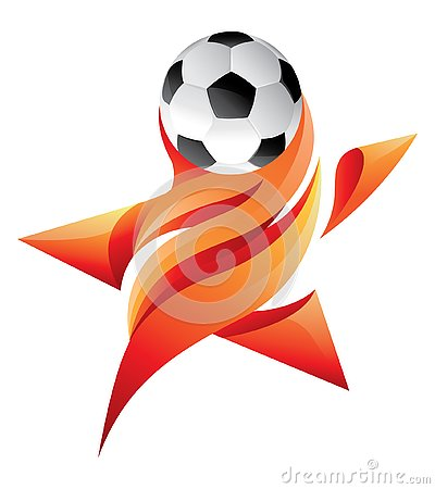 Soccer star logo with flaming fire Vector Illustration
