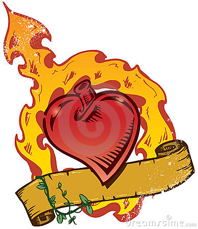 Flaming Heart Tattoo Style Vector With Banner