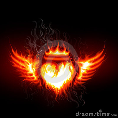 Flaming heart and wings