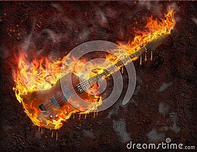 Flaming melting guitar