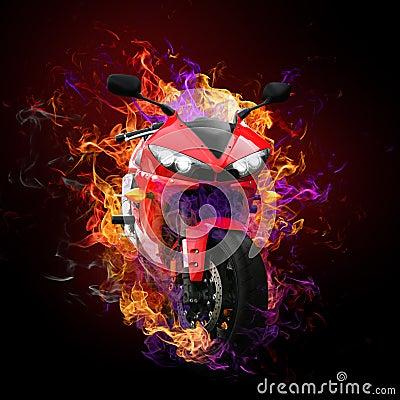 Flaming motorcycle