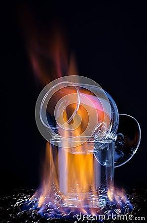 Free Flaming Sambuca And Coffee Beans Stock Image - 25177621