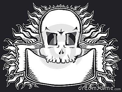 Flaming skull b&w