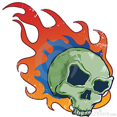 Flaming skull tattoo style vector illustration