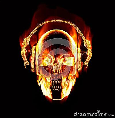 Free Flaming Skull Wearing Headphones Stock Image - 9859561
