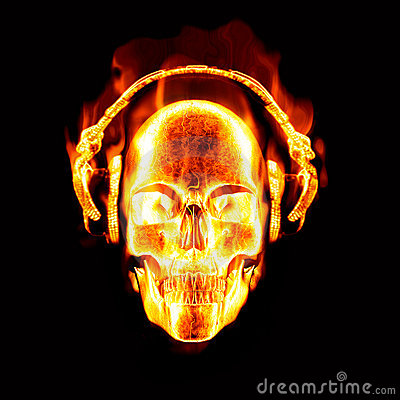 Free Flaming Skull With Headphones Stock Images - 9786254