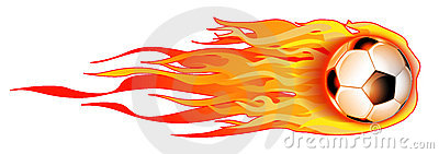 Flaming Soccer Ball On White Illustration