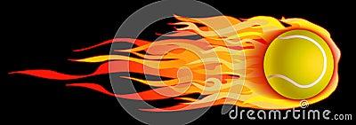 Flaming Tennis Ball Illustration