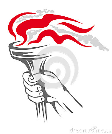 Flaming torch in people hand