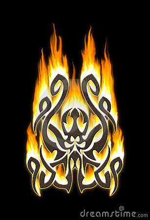 Flaming tribal octopus
