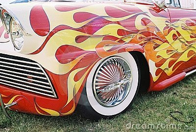 Flaming vintage car w/ naked lady rims