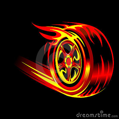 Free Flaming Wheel Stock Photography - 8141432