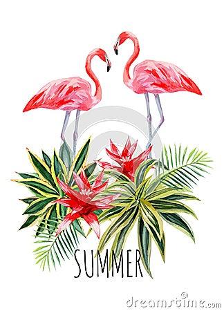Free Flamingo Agava Watercolor Postcard Royalty Free Stock Photos - 75095058