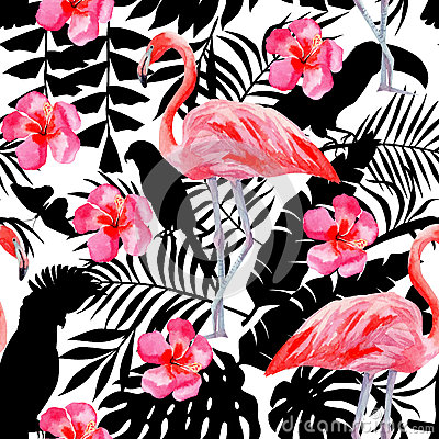 Free Flamingo And Hibiscus Watercolor Pattern, Parrots And Tropical Plants Silhouette Background Stock Photos - 75204853