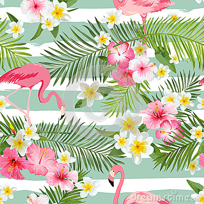 Free Flamingo Background. Tropical Flowers Background Royalty Free Stock Images - 69262539