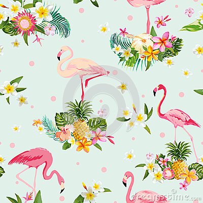 Free Flamingo Bird And Tropical Flowers Background Royalty Free Stock Photos - 66944188