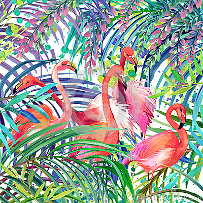 Free Flamingo Illustration. Tropical Exotic Forest, Green Leaves, Wildlife, Bird Flamingo Watercolor Illustration. Stock Photography - 62961822