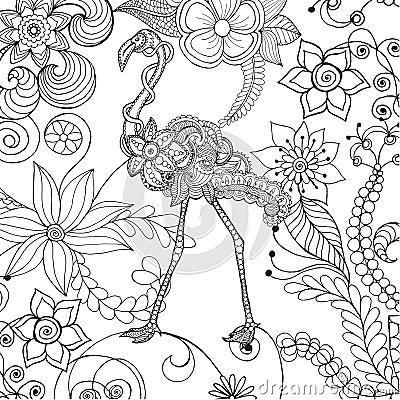 Free Flamingo In Fantasy Flower Garden. Royalty Free Stock Photography - 75604707