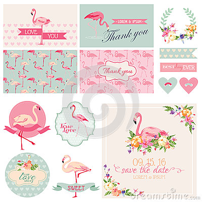 Free Flamingo Party Set Royalty Free Stock Images - 51159359