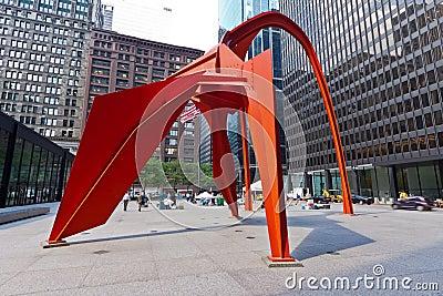 Flamingo Sculpture in Chicago Editorial Stock Image