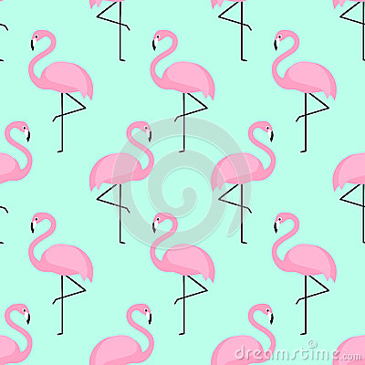 Flamingo seamless pattern on mint green background. Vector Illustration