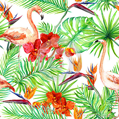 Free Flamingo, Tropical Leaves And Exotic Flowers. Seamless Jungle Pattern. Watercolor Stock Images - 74174264