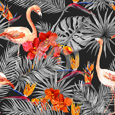 Free Flamingo, Tropical Leaves, Exotic Flowers. Seamless Pattern, Black Background. Watercolor Stock Photography - 74276322