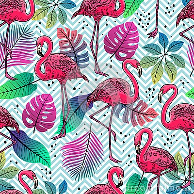 Free Flamingos And Palm Leaves Stock Images - 123057394