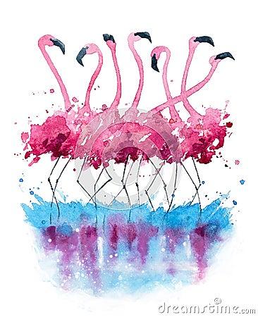 Free Flamingos Watercolor Painting Royalty Free Stock Photo - 63788695