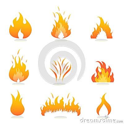 Flammen und Feuerzeichen