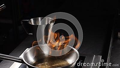 Flammes de feu ouvertes sur la poêle à frire Enflammer le cognac, mouvement lent hd banque de vidéos